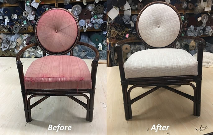 Before and After Reupholstered Chairs